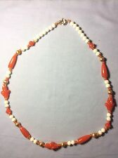 Glass Bead Necklace Orange and White Short LN1