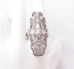 Art Deco Sterling Silver Cubic Zirconia Milgrain Filigree Style Shield Ring