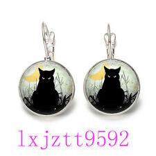 Black Cat In Moon Glass cabochon(18MM)Lever Back Earrings Silver women Jewelry