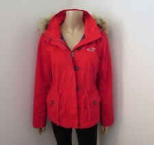 Hollister Twill Parka Flannel Lined Jacket Size Medium Red Coat Faux Fur Hoodie