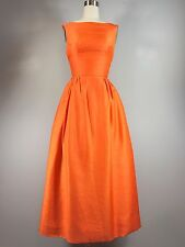 Vintage 1960s Orange Silk Jackie O Ball Gown Dress Prom 33 Bust Audrey Hepburn