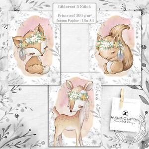✿ 3er Set Poster Din A4 Kinderzimmer Bilder Babyzimmer Bild Baby Tiere Deko ✿