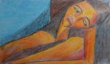 Original cubist abstract portrait pastel drawing signed