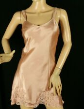 Cacique Lingerie Women's Babydoll Pink Satin Nightie Lace Trim Size S