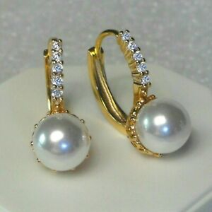 18k Yellow Gold GF SIM Diamonds And White Pearl Lever back Hoop Earrings, Boxed