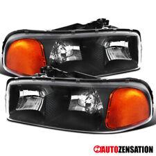 For 2000-2006 GMC Sierra Yukon XL 1500 2500 Black Clear Headlights Lamps Pair