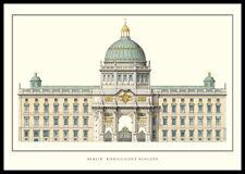 Berlin Königliches Schloss Poster Kunstdruck Bild im Alu Rahmen schwarz 70x100cm