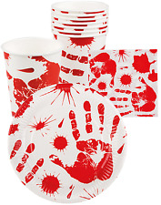 24 Pc Halloween Party Table Wear Cups Plates Napkins Accessory Prop Decorations