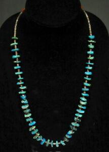 "Vintage 1950s Zuni Natural Turquoise & Orange Indian Trade Beads Necklace 27"""
