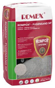 (2,00€/1kg) ROMEX Fugensand NP 25kg Sack, Farbe BASALT - Der feste Fugensand geg