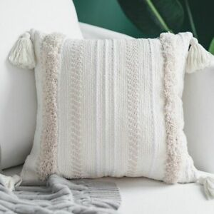 Woven Throw Pillow Case for Sofa Chair Throw Cushion with Tassels Moroccan Style