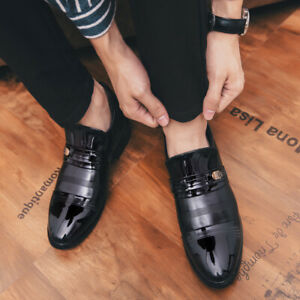 Mens Round Toe Slip On Business Work Office Dress Formal Patent Leather Shoes