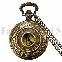 Retro Vintage Constellation Map Roman Numerals Steampunk Quartz Pocket Fob Watch