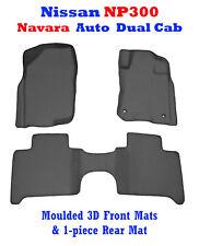 Suits Nissan Navara NP300 2015-2018 Auto 3D Black Rubber Floor Mats Front & Rear