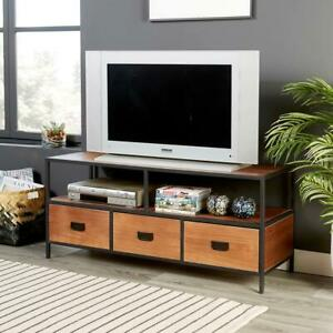 Retro Dark Wood TV Stand 3 Drawer Televison Cabinet Metal Handles and Legs