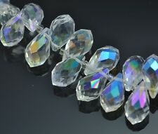 48pcs  14mm Teardrop Briolette Top-drilled Faceted Crystal Glass Beads