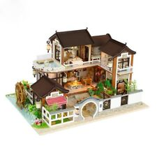 DIY Miniatur Haus Dollhouse Puppenhaus mit Einrichtung und Beleuchtung Bausatz