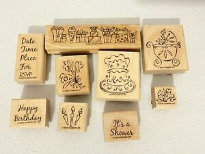 STAMPIN UP! Rubber Stamp Set (9) SOMETHING TO CELEBRATE Wood Birthday Shower