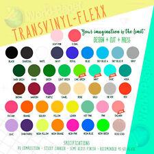 "Heat Transfer Iron On Vinyl HTV 3 sheet 12""x15"" Transvinyl Flexx Choose Colors#1"
