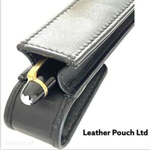 Black Single Magnetic Flap Pen Case, Pen Pouch. Real Leather quality hand made