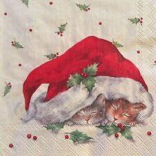 paper napkins decoupage x 2 Christmas cats 25cm