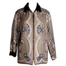 Hermes Jacket Silk Scarf Print Paperoles Reversible Cashmere S mint