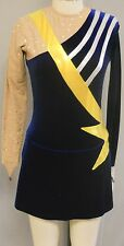 BLUE VELVET+GOLD METALLIC+NUDE LYCRA A-LINE DRESS-DANCE/SKATE/POM COSTUME-M