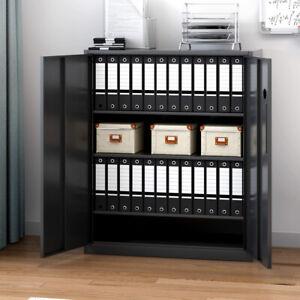 Metal Filing Cabinet Office Storage Lockable Cabinet 4 Tiers Cupboards Black NEW