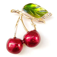 Double Cherry Cerise Fruit Green Leaf Gold Branch Crystal Lovely Brooch Pin Gift
