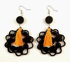 Orange Cotton Tassels Lightweight Laser Cut Black Wood Dangle Earrings #611