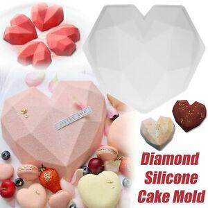 Baking Tool Large Diamond Cake Mold 3D Heart Shape Silicone Chocolate Mold