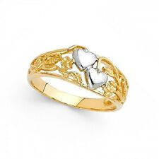 Two Hearts Love Ring Solid 14k Yellow & White Gold Filigree Band Polished Fancy