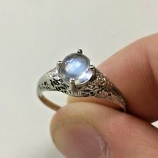 Vintage 14k White Gold Filigree Ring with Cabochon Moonstone