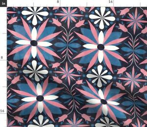 Pink Black Blue Flowers Geometric Dots Tiles Spoonflower Fabric by the Yard