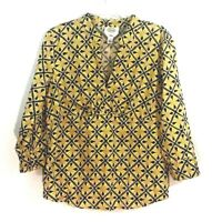 Talbots Top Sz Large Blue Gold  3/4 Sleeve Faux Wrap Shirt Stretch Blouse Womens