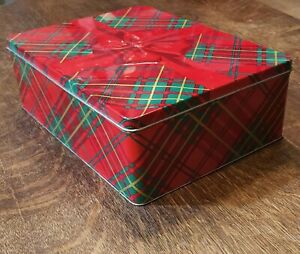 """Christmas Holiday Tin Metal Gift Box, Red and Green Plaid with Bow. 10 3/4"""" x8"""""""