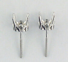 1/2 Ct Each Stone Antique Style Stud Earrings Mount 1Ct Tw 14K White Gold
