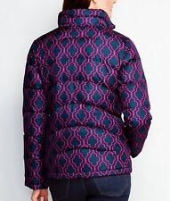 Land's End 443695 Women's Down Jacket SMALL 6-8 Classic Navy Lattice Print