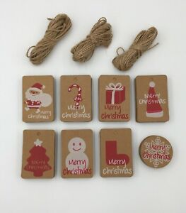 100 pk Brown Kraft Paper Christmas Gift Tags Includes Twine 8 Designs Xmas Gift
