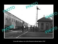 OLD POSTCARD SIZE PHOTO OF EVANSVILLE INDIANA THE WANSFORD RAILROAD DEPOT 1940