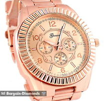 mens big rose-gold tone sports clubbing dress watch oversize unisex hip hop