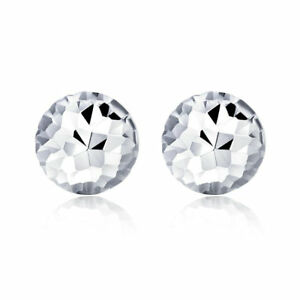 New Solid Platinum 950 Stud Earrings Faced Half-Dome Earrings For Lady 4mm