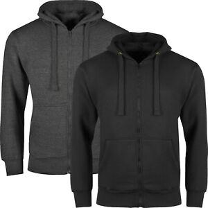 New Mens Hoodies Zip Up Hooded Fleece Zipper Top Plain Jacket Warm Coat Jumper