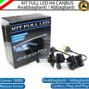 KIT LED H4 6000K BIANCO CANBUS XENON 18000 LM LUMEN REALI LAMPADE BI-LED
