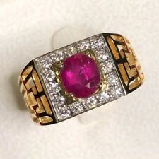 GENUINE 1.80TCW Pigeon Blood Ruby Diamonds 18K solid yellow mens unisex Art Deco