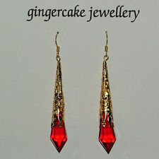 Plated Filigree Acrylic 7Cm hook Lovely Red Victorian Style Earrings Gold