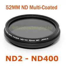 "52mm Fader ND Filter Neutral Density ND2 to ND400 Multi-Coated Slim ""US Seller"""