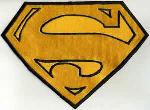 """6.5"""" x 8"""" Child sized Fully Embroidered Superman Cape Back Yellow & Black Patch"""