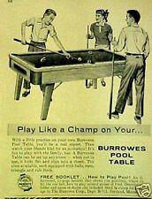 1957 Burrowes Fold-Up Billiard/Pool Tables Art Print AD
