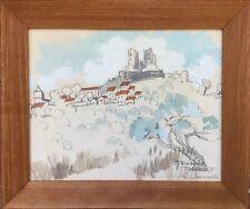 GRIMAUD/Renée BERNARD 1906-2004.Grimaud.1937.Huile,aquarelle et crayon.SBD.30x21